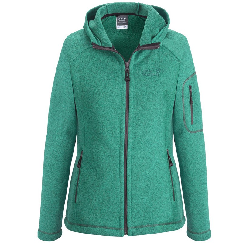 jack wolfskin damen strickjacke caribou lodge fleecejacke jacke strick evergreen ebay. Black Bedroom Furniture Sets. Home Design Ideas