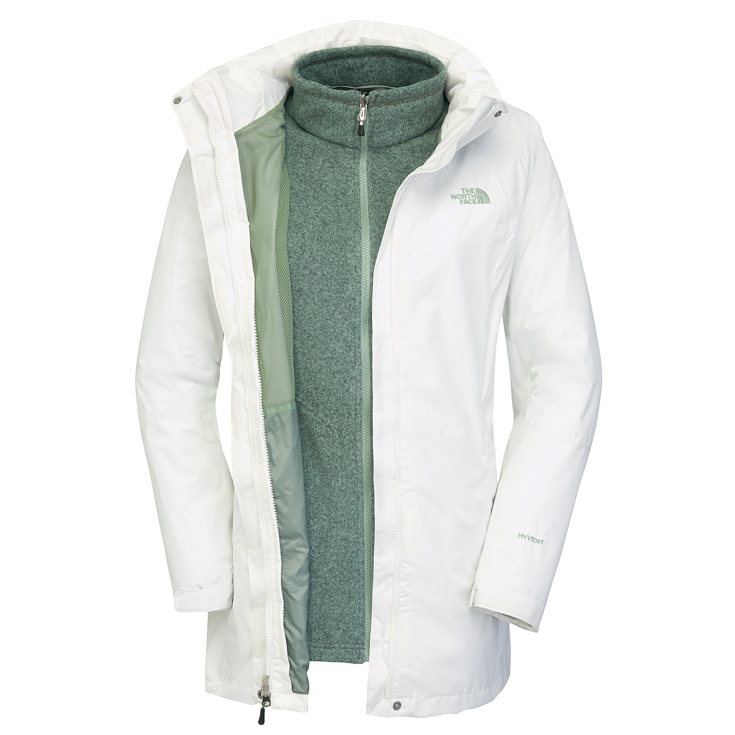 the north face triton damen doppeljacke mantel 3in1 mantel jacke weiss ebay. Black Bedroom Furniture Sets. Home Design Ideas
